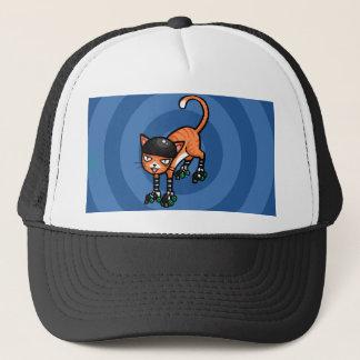 Orange tabby on rollerskates trucker hat