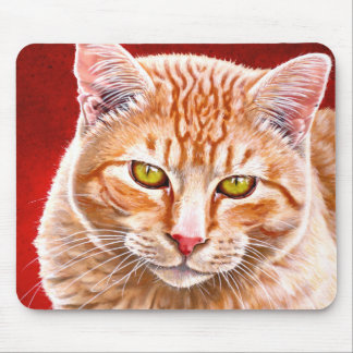 Orange Tabby Painting Mouse Pad
