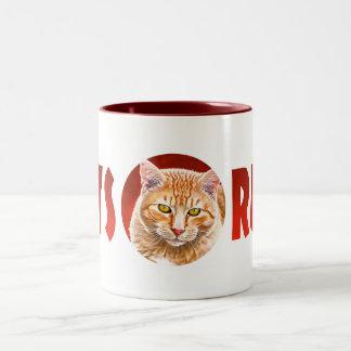 Orange Tabby Painting Two-Tone Coffee Mug
