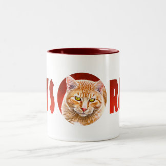 Orange Tabby Painting Two-Tone Coffee Mug