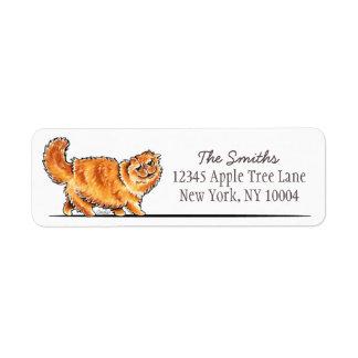 Orange Tabby Persian Cat Off-Leash Art™ Simple Label