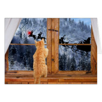 Orange tabby red dot Christmas Card