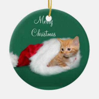 Orange tabby Santa hat Ceramic Ornament