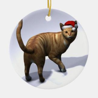 Orange Tabby with Santa Hat Ceramic Ornament