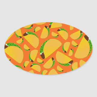 Orange tacos oval sticker