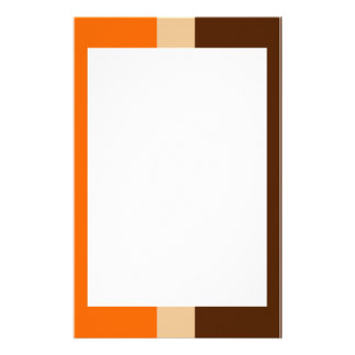 Orange Tan and Brown Border Stationery
