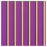 [ Thumbnail: Orange, Tan, Black, and Purple Lines Fabric ]