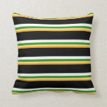 [ Thumbnail: Orange, Tan, Forest Green, White & Black Colored Throw Pillow ]