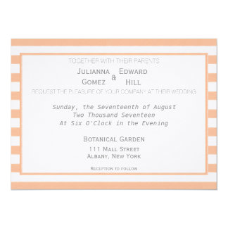 Orange Tangerine Stripes Wedding Invitation