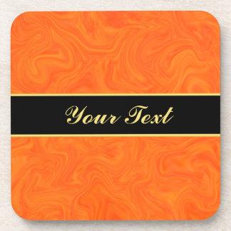 Orange Tangerine Tonal Abstract Swirled Beverage Coaster
