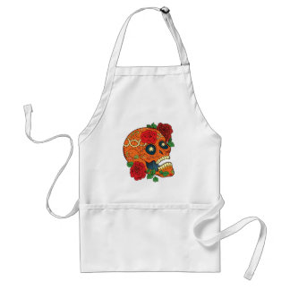 Orange Tattoo Day of Dead Sugar Skull Red Roses Adult Apron