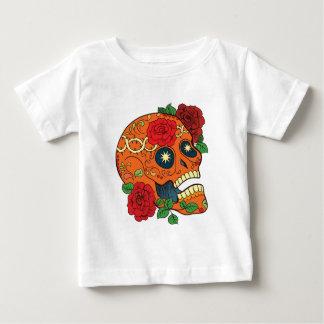 Orange Tattoo Day of Dead Sugar Skull Red Roses Baby T-Shirt