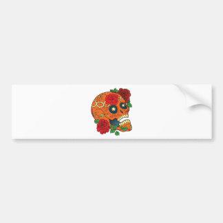 Orange Tattoo Day of Dead Sugar Skull Red Roses Bumper Sticker