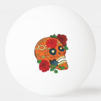 Orange Tattoo Day of Dead Sugar Skull Red Roses Ping Pong Ball