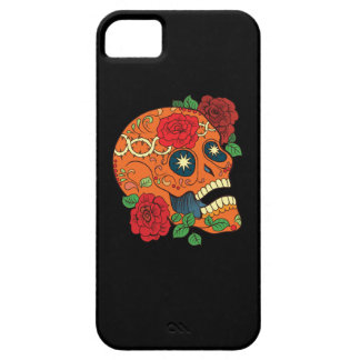 Orange Tattoo Day of Dead Sugar Skull Red Roses iPhone SE/5/5s Case