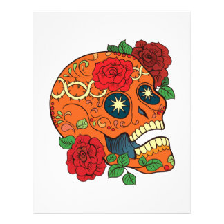 Orange Tattoo Day of Dead Sugar Skull Red Roses Letterhead
