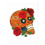 Orange Tattoo Day Of Dead Sugar Skull Red Roses Postcard at Zazzle
