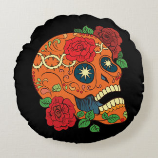 Orange Tattoo Day of Dead Sugar Skull Red Roses Round Pillow