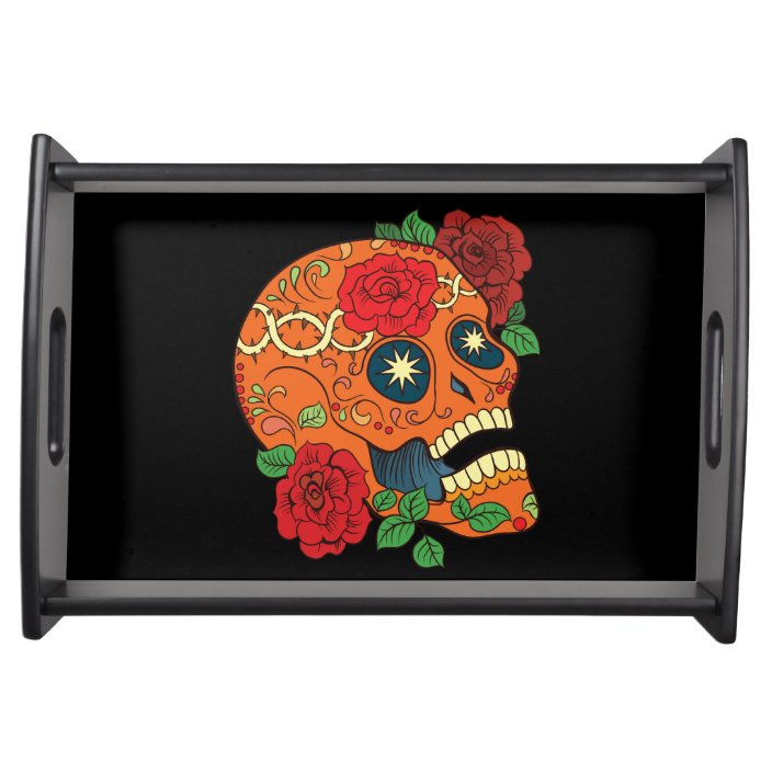 Orange Tattoo Day Of Dead Sugar Skull Red Roses Serving Tray Zazzle Com
