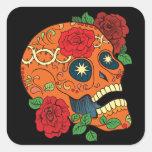 Orange Tattoo Day Of Dead Sugar Skull Red Roses Square Sticker at Zazzle