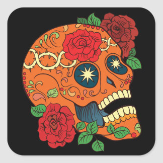 Orange Tattoo Day of Dead Sugar Skull Red Roses Square Sticker