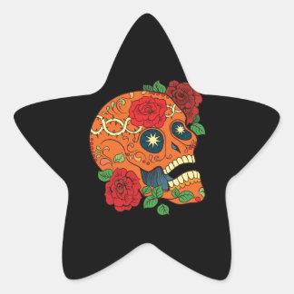 Orange Tattoo Day of Dead Sugar Skull Red Roses Star Sticker
