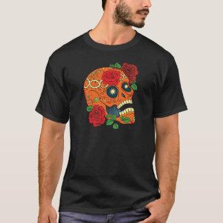 Orange Tattoo Day of Dead Sugar Skull Red Roses T-Shirt