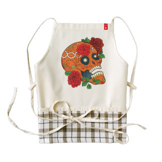 Orange Tattoo Day of Dead Sugar Skull Red Roses Zazzle HEART Apron