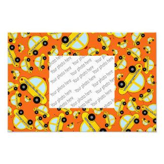 Orange taxi pattern photo print