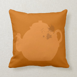 Orange tea pot throw pillow