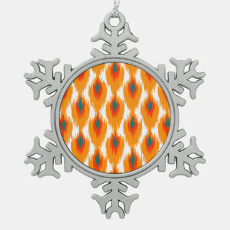 Orange Teal Abstract Tribal Ikat Diamond Pattern Ornament
