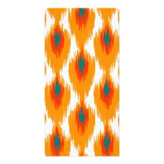 Orange Teal Abstract Tribal Ikat Diamond Pattern Photo Card Template