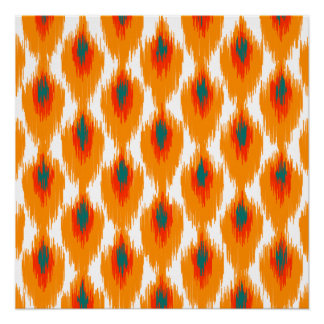 Orange Teal Abstract Tribal Ikat Diamond Pattern Poster