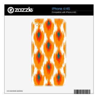 Orange Teal Abstract Tribal Ikat Diamond Pattern Skin For iPhone 4