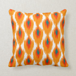Orange Teal Abstract Tribal Ikat Diamond Pattern Throw Pillow