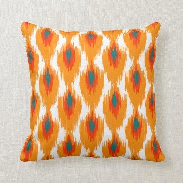 SharonaCreations Orange Teal Abstract Tribal Ikat Diamond Pattern Throw Pillow