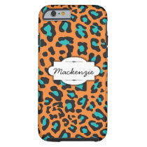 Orange/Teal Animal Print Custom iPhone 6 Case