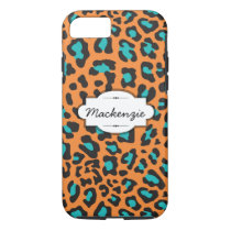 Orange/Teal Animal Print Custom iPhone 7 Case