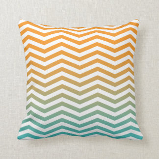 Orange Teal Blue Watercolor Chevron Modern Art Throw Pillow
