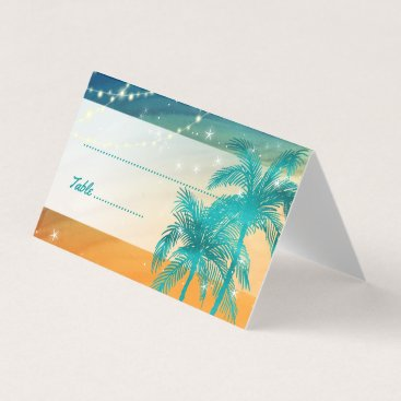 Beach Themed Orange Teal Blue Wedding Palm Tree Place Cards