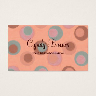 Professional Business Orange Teal Brown Dots Business Card