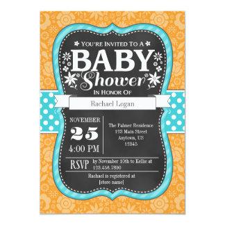 Orange Teal Chalkboard Floral Baby Shower Invite