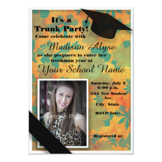 Orange Teal Floral Trunk College Party Photo Card