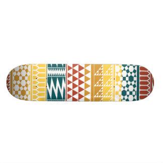 Orange Teal Geometric Aztec Tribal Print Pattern Skateboard
