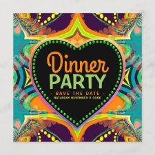 Orange Teal Groovy Hippie Bohemian Themed Party Save The Date