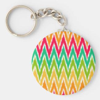 Orange Teal Ikat Chevron Zig Zag Stripes Pattern Basic Round Button Keychain