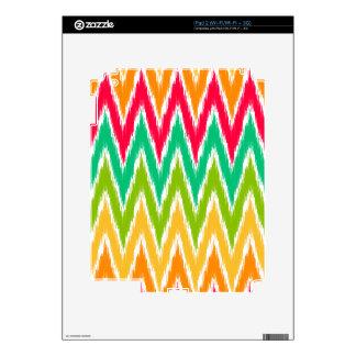 Orange Teal Ikat Chevron Zig Zag Stripes Pattern Decal For iPad 2