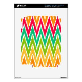 Orange Teal Ikat Chevron Zig Zag Stripes Pattern Decals For iPad 3