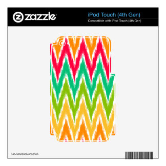 Orange Teal Ikat Chevron Zig Zag Stripes Pattern Decals For iPod Touch 4G