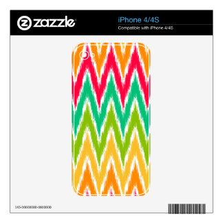 Orange Teal Ikat Chevron Zig Zag Stripes Pattern iPhone 4S Decal